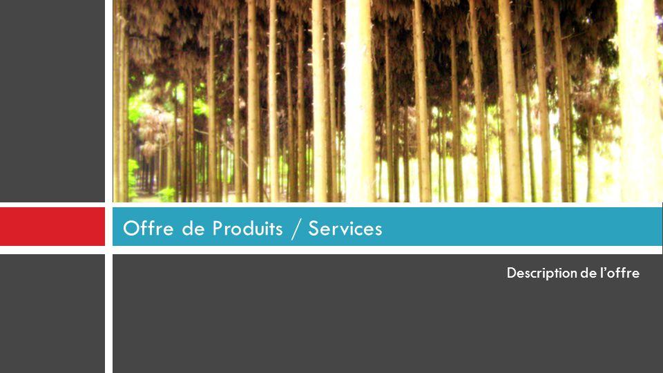 Description de l'offre Offre de Produits / Services