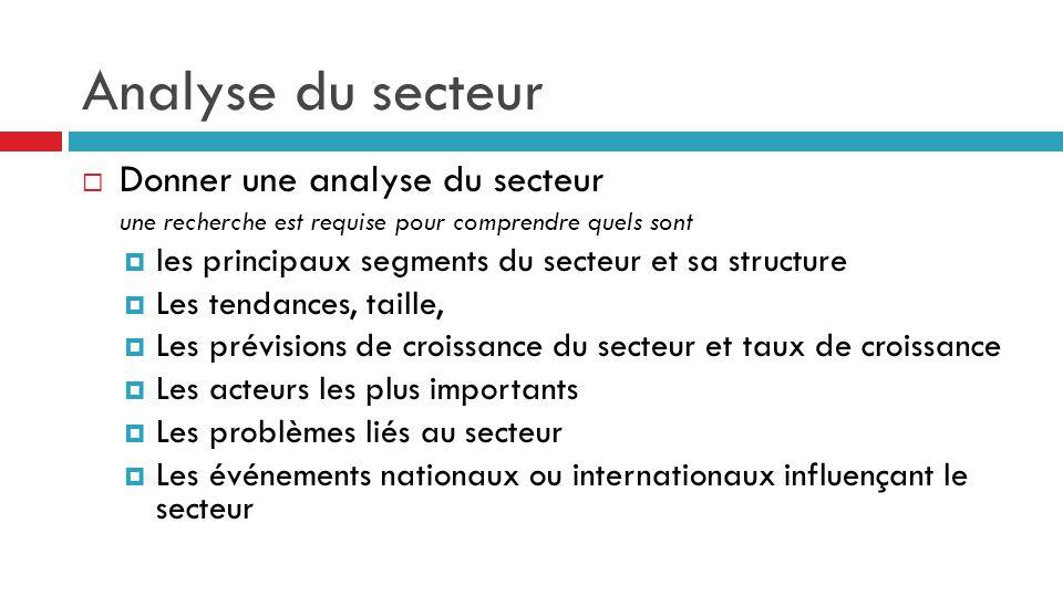 Analyse du secteur  Donner une analyse du secteur une recherche est requise pour comprendre quels sont  les principaux segments du secteur et sa str