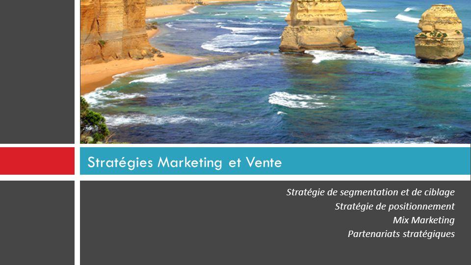 Stratégie de segmentation et de ciblage Stratégie de positionnement Mix Marketing Partenariats stratégiques Stratégies Marketing et Vente