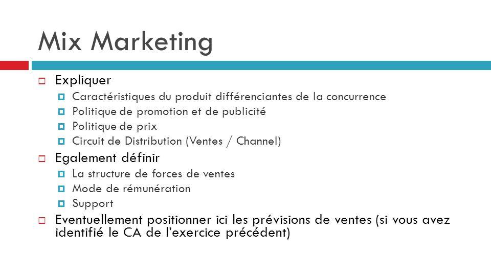 Mix Marketing  Expliquer  Caractéristiques du produit différenciantes de la concurrence  Politique de promotion et de publicité  Politique de prix