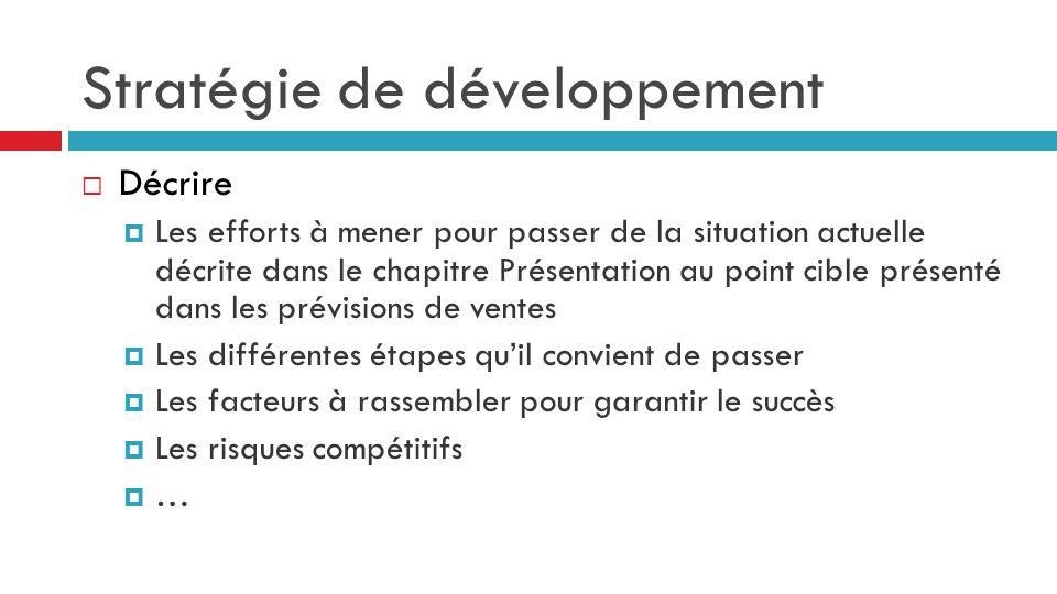 Stratégie de développement  Décrire  Les efforts à mener pour passer de la situation actuelle décrite dans le chapitre Présentation au point cible p