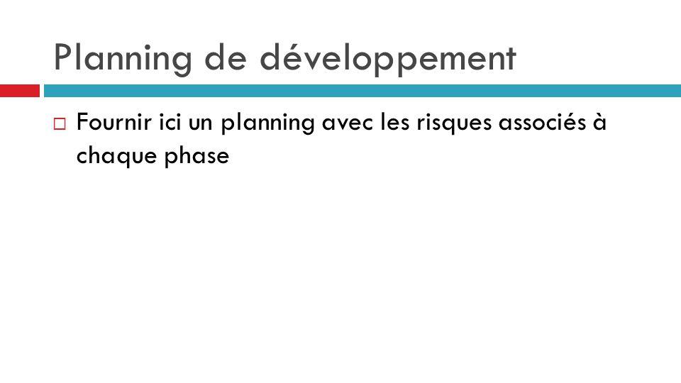 Planning de développement  Fournir ici un planning avec les risques associés à chaque phase