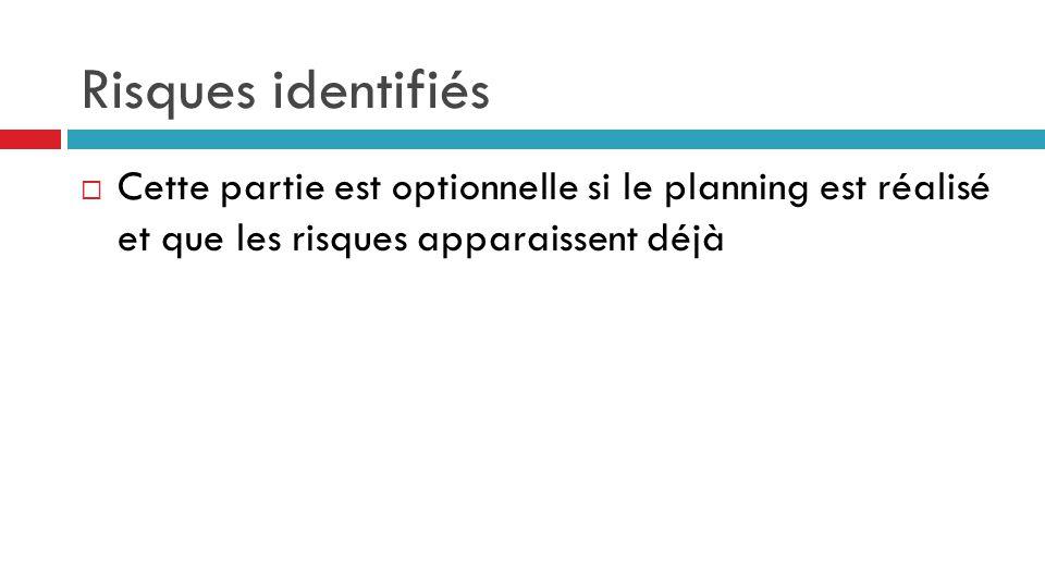 Risques identifiés  Cette partie est optionnelle si le planning est réalisé et que les risques apparaissent déjà