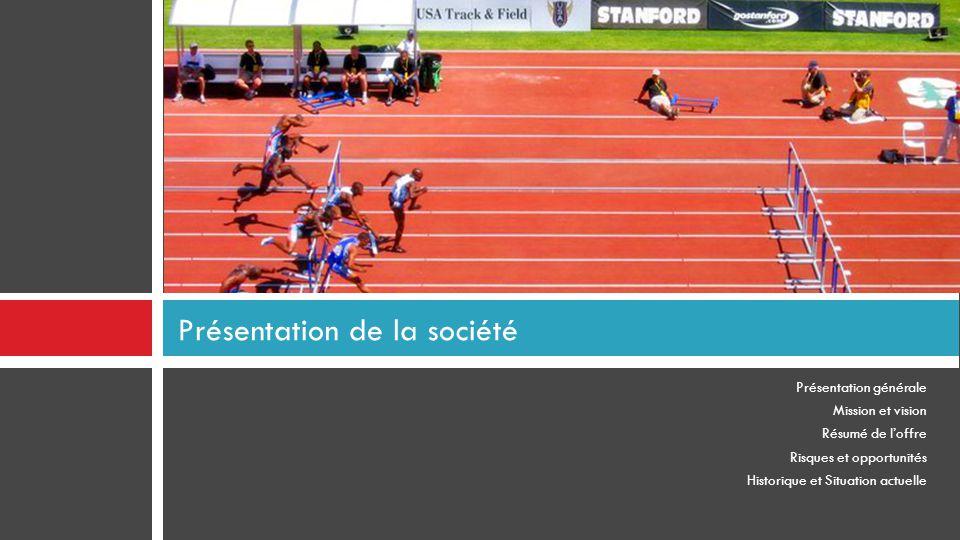 Présentation générale Mission et vision Résumé de l'offre Risques et opportunités Historique et Situation actuelle Présentation de la société