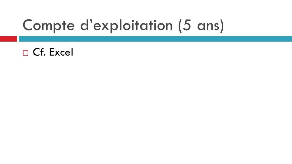 Compte d'exploitation (5 ans)  Cf. Excel