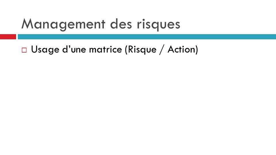 Management des risques  Usage d'une matrice (Risque / Action)