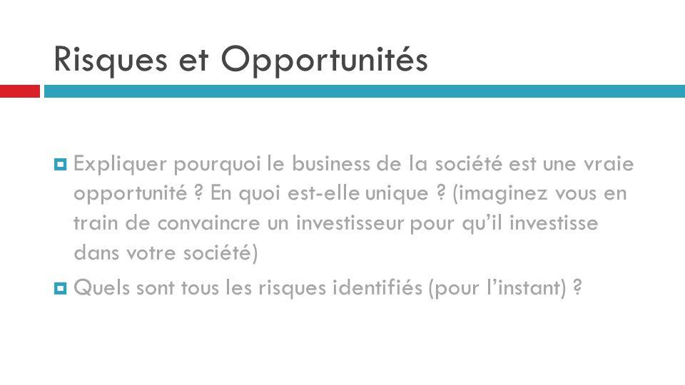 Risques et Opportunités  Expliquer pourquoi le business de la société est une vraie opportunité ? En quoi est-elle unique ? (imaginez vous en train d