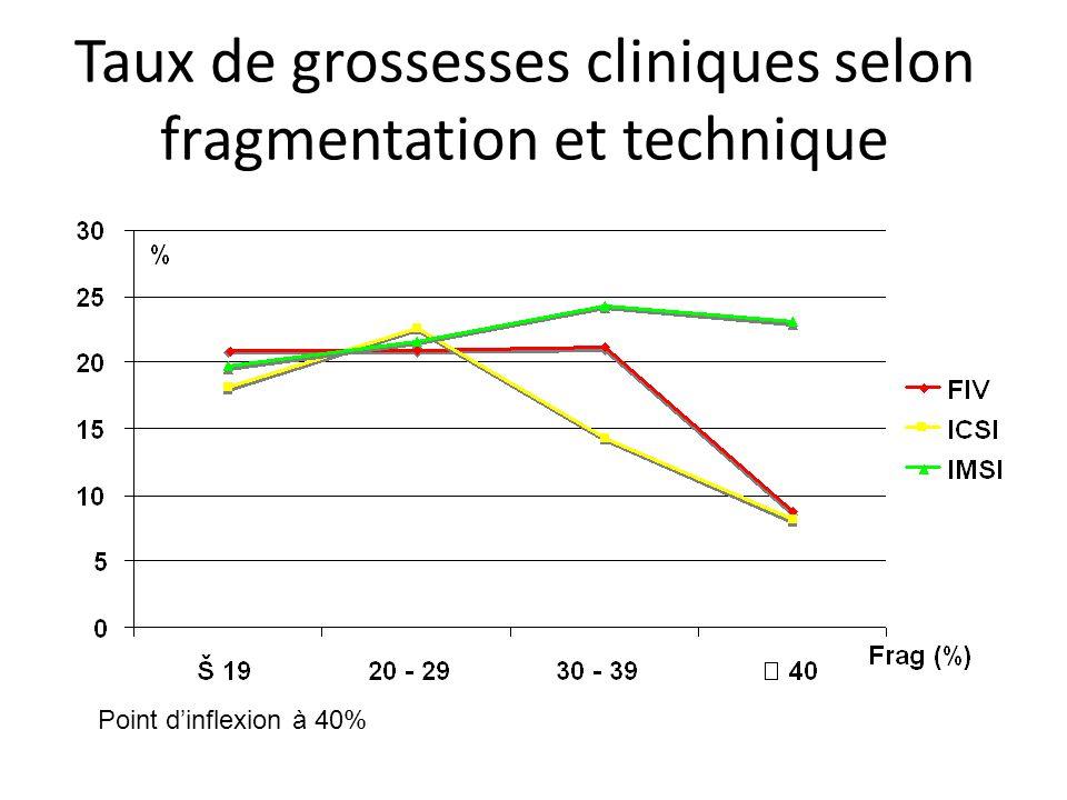 Taux de grossesses et d'accouchements selon la fragmentation et la technique d'AMP Effet fragmentation sur grossesses et accouchements: p<0,05 pour FIV et ICSI groupées, NS pour IMSI