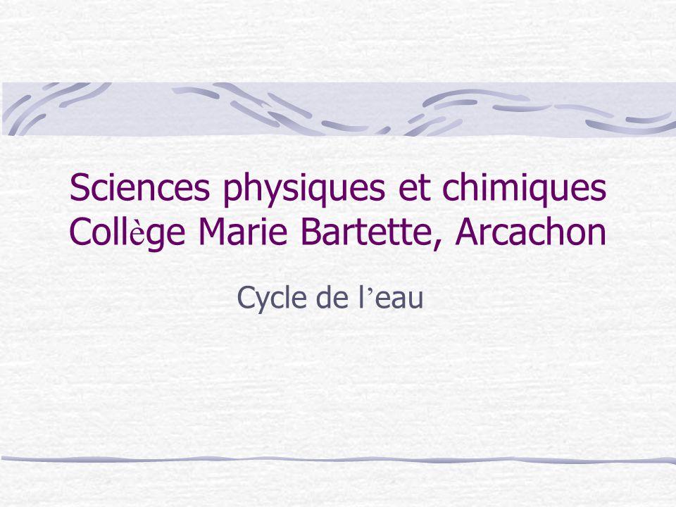 Sciences physiques et chimiques Coll è ge Marie Bartette, Arcachon Cycle de l ' eau