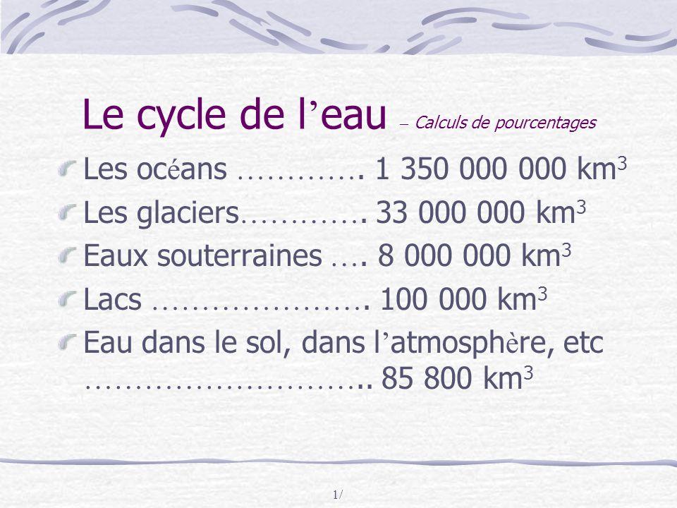1/ Le cycle de l ' eau – Calculs de pourcentages Les oc é ans …………. 1 350 000 000 km 3 Les glaciers …………. 33 000 000 km 3 Eaux souterraines …. 8 000 0