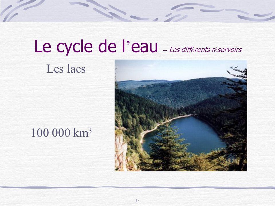 1/ Le cycle de l ' eau – Les diff é rents r é servoirs Les lacs 100 000 km 3
