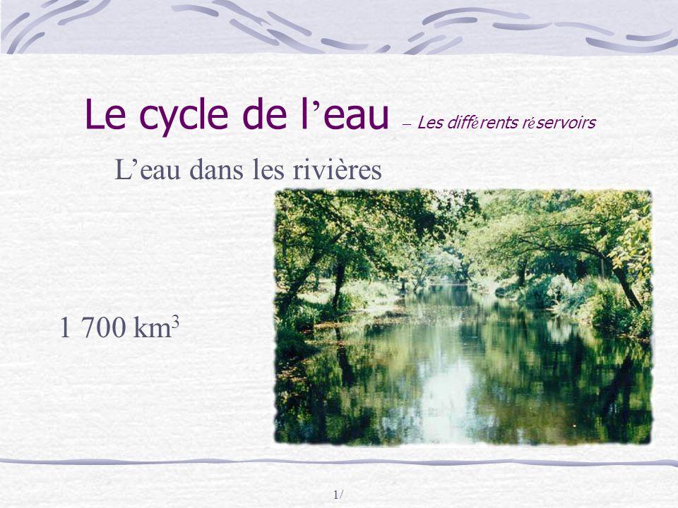 1/ Le cycle de l ' eau – Les diff é rents r é servoirs L'eau dans les rivières 1 700 km 3