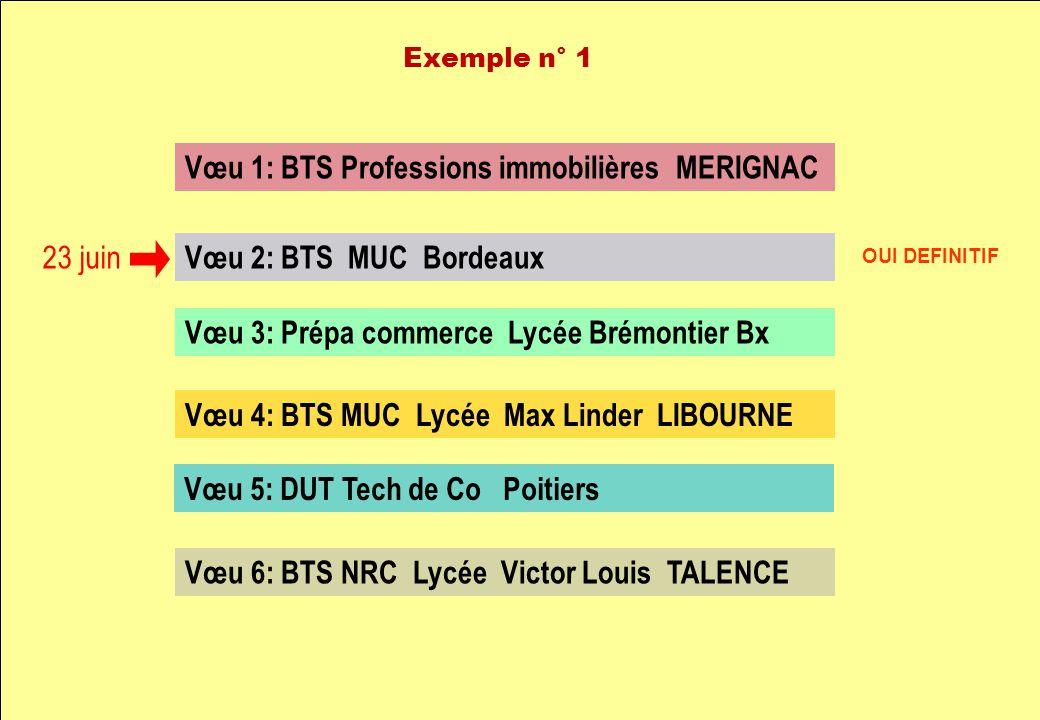 Vœu 1: BTS Professions immobilières MERIGNAC Vœu 2: BTS MUC Bordeaux Vœu 3: Prépa commerce Lycée Brémontier Bx Vœu 4: BTS MUC Lycée Max Linder LIBOURN