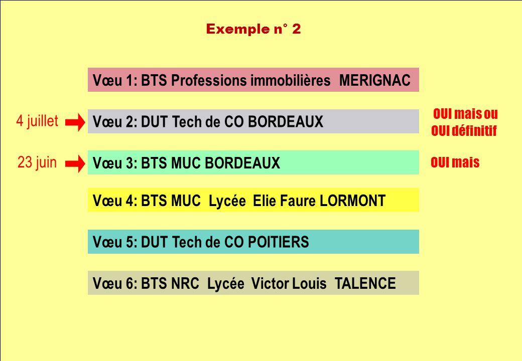 Vœu 1: BTS Professions immobilières MERIGNAC Vœu 2: DUT Tech de CO BORDEAUX Vœu 3: BTS MUC BORDEAUX Vœu 4: BTS MUC Lycée Elie Faure LORMONT Vœu 5: DUT