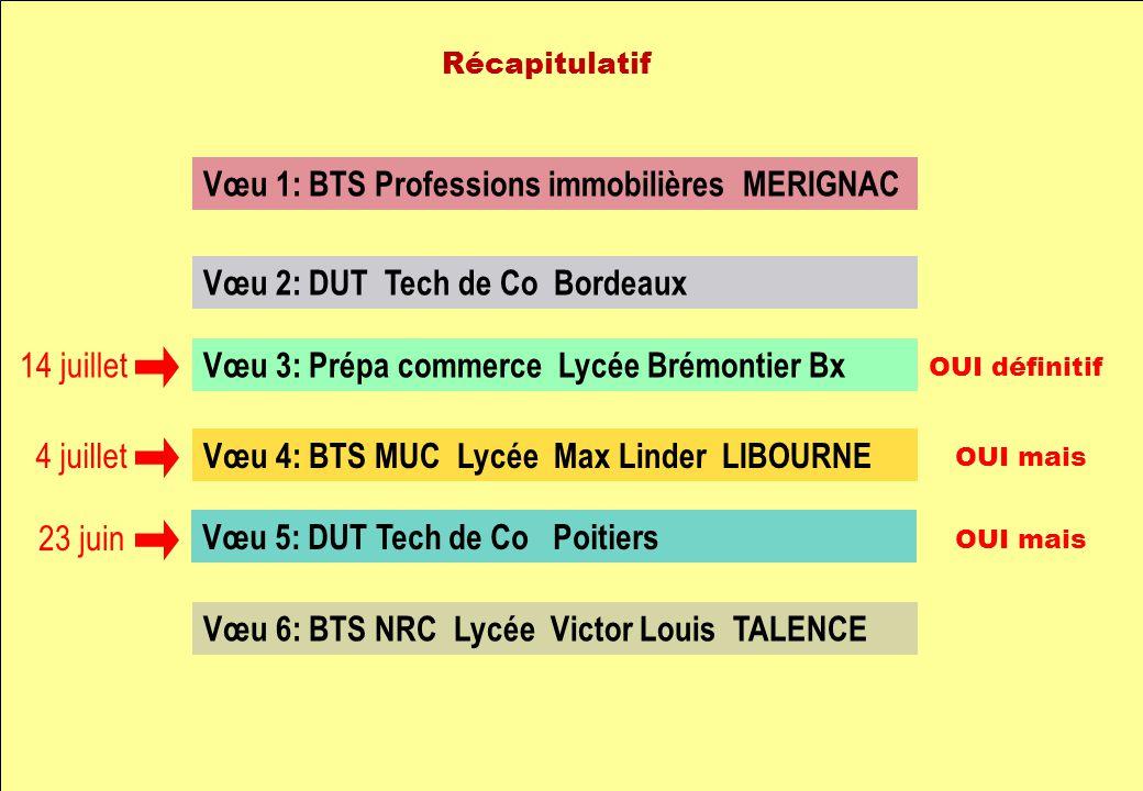 Vœu 1: BTS Professions immobilières MERIGNAC Vœu 2: DUT Tech de Co Bordeaux Vœu 3: Prépa commerce Lycée Brémontier Bx Vœu 4: BTS MUC Lycée Max Linder