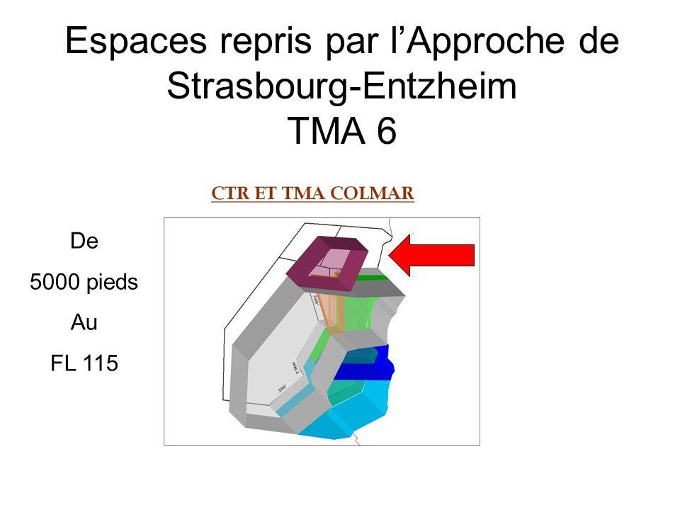 Espaces repris par l'Approche de Strasbourg-Entzheim TMA 6 De 5000 pieds Au FL 115