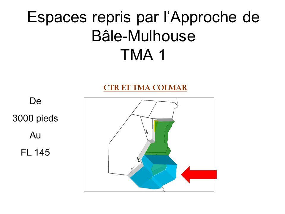 Espaces repris par l'Approche de Bâle-Mulhouse TMA 1 De 3000 pieds Au FL 145