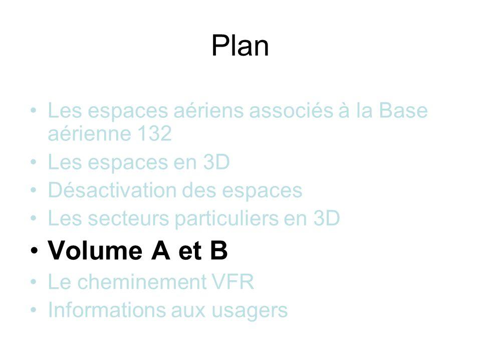 Plan Les espaces aériens associés à la Base aérienne 132 Les espaces en 3D Désactivation des espaces Les secteurs particuliers en 3D Volume A et B Le cheminement VFR Informations aux usagers