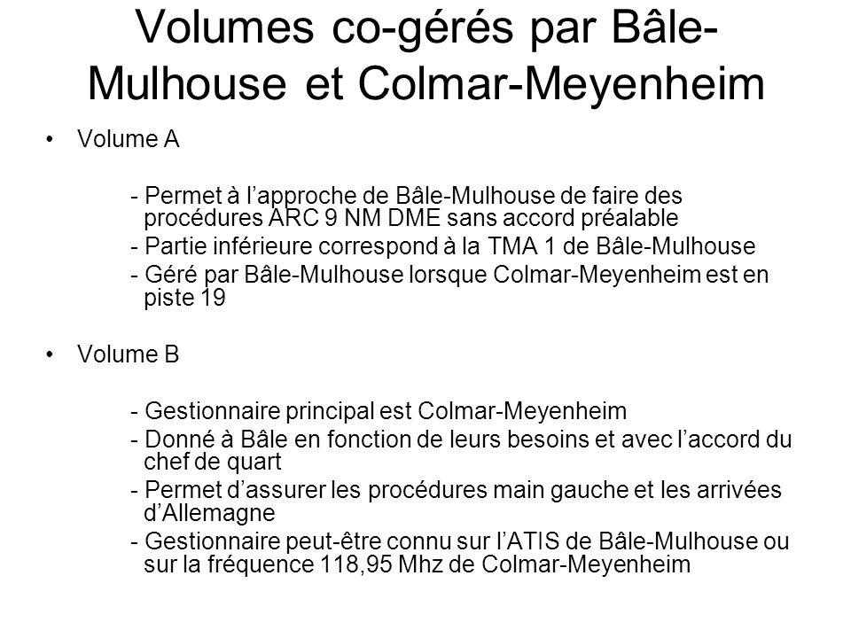 Volumes co-gérés par Bâle- Mulhouse et Colmar-Meyenheim Volume A - Permet à l'approche de Bâle-Mulhouse de faire des procédures ARC 9 NM DME sans accord préalable - Partie inférieure correspond à la TMA 1 de Bâle-Mulhouse - Géré par Bâle-Mulhouse lorsque Colmar-Meyenheim est en piste 19 Volume B - Gestionnaire principal est Colmar-Meyenheim - Donné à Bâle en fonction de leurs besoins et avec l'accord du chef de quart - Permet d'assurer les procédures main gauche et les arrivées d'Allemagne - Gestionnaire peut-être connu sur l'ATIS de Bâle-Mulhouse ou sur la fréquence 118,95 Mhz de Colmar-Meyenheim