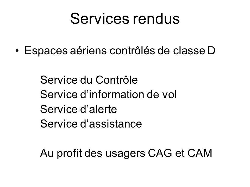 Services rendus Espaces aériens contrôlés de classe D Service du Contrôle Service d'information de vol Service d'alerte Service d'assistance Au profit des usagers CAG et CAM