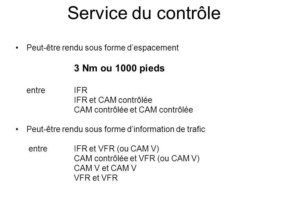 Service du contrôle Peut-être rendu sous forme d'espacement 3 Nm ou 1000 pieds entre IFR IFR et CAM contrôlée CAM contrôlée et CAM contrôlée Peut-être rendu sous forme d'information de trafic entre IFR et VFR (ou CAM V) CAM contrôlée et VFR (ou CAM V) CAM V et CAM V VFR et VFR