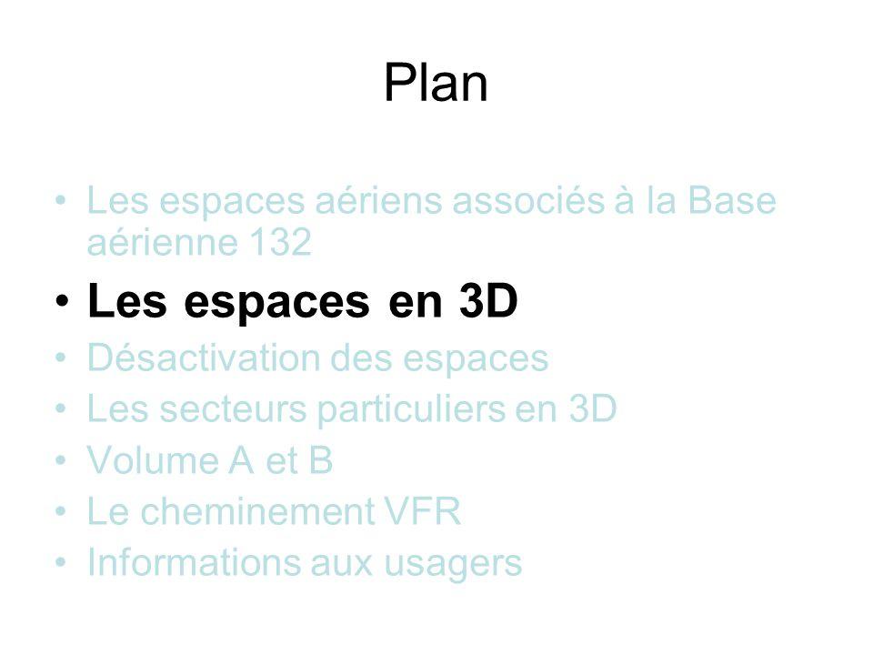 Plan Les espaces aériens associés à la Base aérienne 132 Les espaces en 3D Désactivation des espaces Les secteurs particuliers en 3D Volume A et B Le