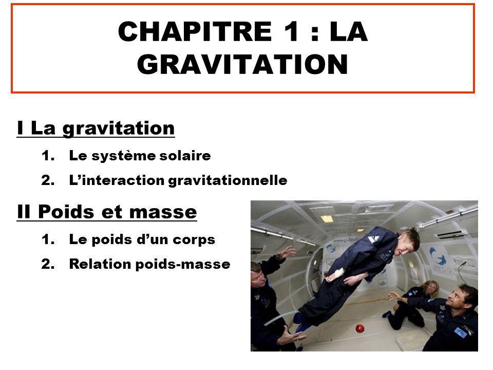 CHAPITRE 1 : LA GRAVITATION I La gravitation 1.Le système solaire 2.L'interaction gravitationnelle II Poids et masse 1.Le poids d'un corps 2.Relation