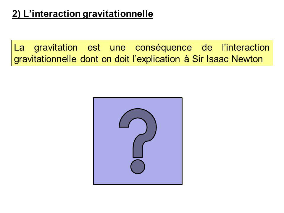 2) L'interaction gravitationnelle La gravitation est une conséquence de l'interaction gravitationnelle dont on doit l'explication à Sir Isaac Newton
