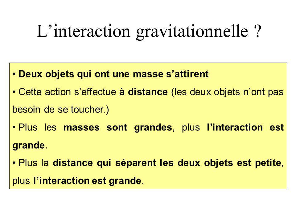 L'interaction gravitationnelle ? Deux objets qui ont une masse s'attirent Cette action s'effectue à distance (les deux objets n'ont pas besoin de se t