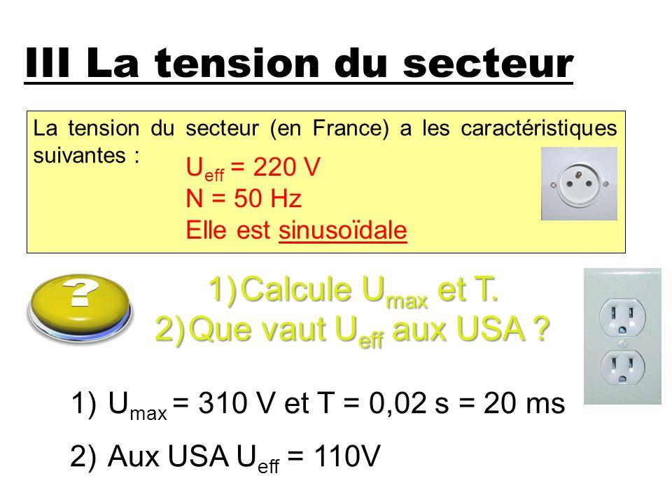 La tension du secteur (en France) a les caractéristiques suivantes : III La tension du secteur 1)Calcule U max et T. 2)Que vaut U eff aux USA ? U eff