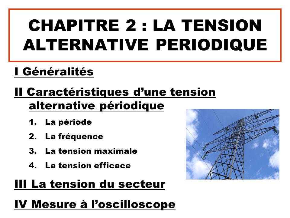 CHAPITRE 2 : LA TENSION ALTERNATIVE PERIODIQUE I Généralités II Caractéristiques d'une tension alternative périodique 1.La période 2.La fréquence 3.La
