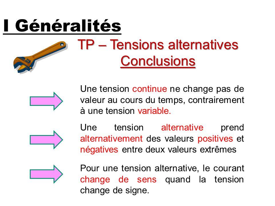 I Généralités TP – Tensions alternatives Conclusions Une tension alternative prend alternativement des valeurs positives et négatives entre deux valeu