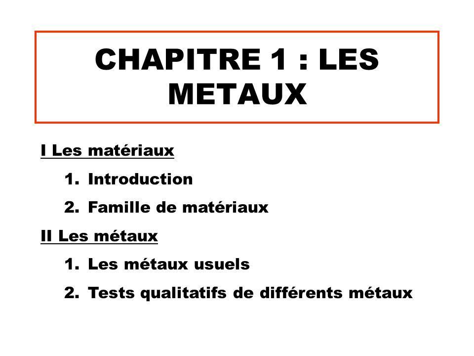 CHAPITRE 1 : LES METAUX I Les matériaux 1.Introduction 2.Famille de matériaux II Les métaux 1.Les métaux usuels 2.Tests qualitatifs de différents méta