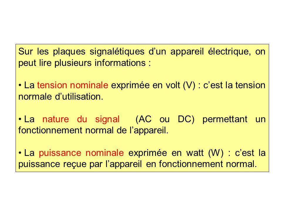 Sur les plaques signalétiques d'un appareil électrique, on peut lire plusieurs informations : La tension nominale exprimée en volt (V) : c'est la tension normale d'utilisation.