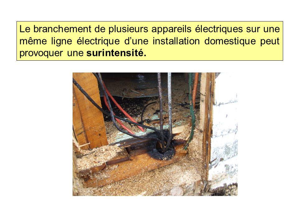 Le branchement de plusieurs appareils électriques sur une même ligne électrique d'une installation domestique peut provoquer une surintensité.