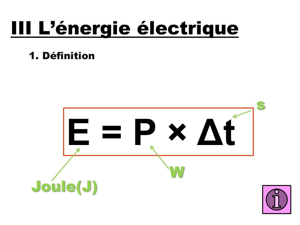 III L'énergie électrique 1. Définition E = P × Δt Joule(J) Ws
