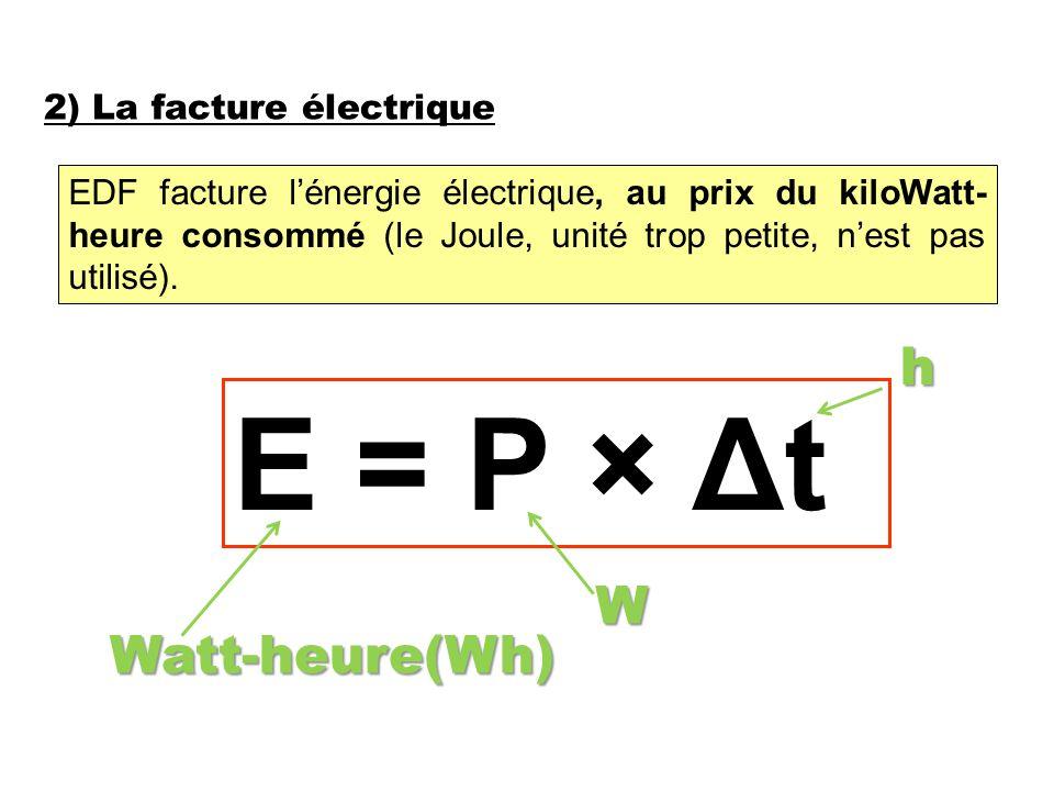 2) La facture électrique EDF facture l'énergie électrique, au prix du kiloWatt- heure consommé (le Joule, unité trop petite, n'est pas utilisé).