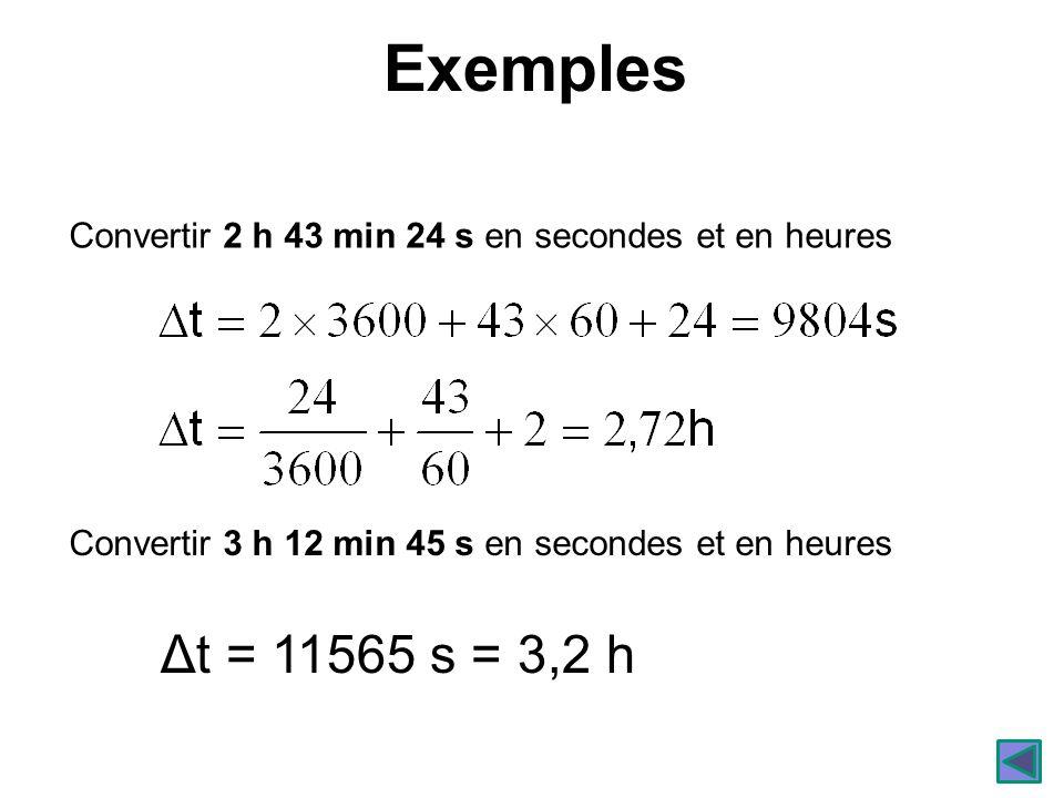 Exemples Convertir 2 h 43 min 24 s en secondes et en heures Convertir 3 h 12 min 45 s en secondes et en heures Δt = 11565 s = 3,2 h