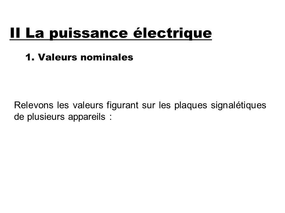 II La puissance électrique 1.