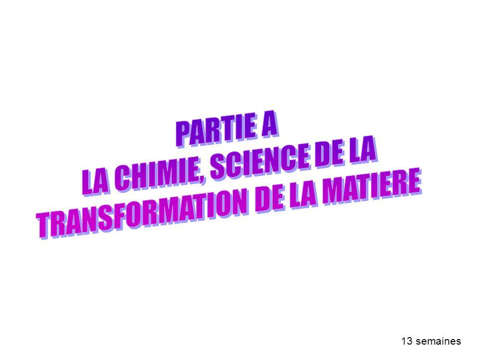 PARTIE A : LA CHIMIE, SCIENCE DE LA TRANSFORMATION DE LA MATIERE 13 semaines