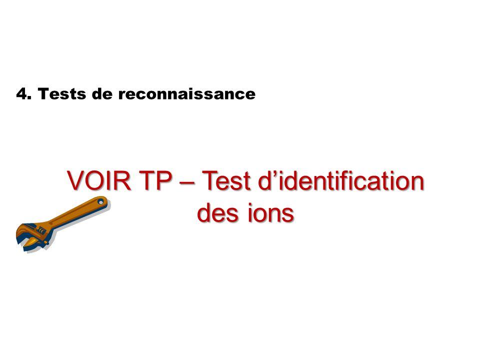 4. Tests de reconnaissance VOIR TP – Test d'identification des ions