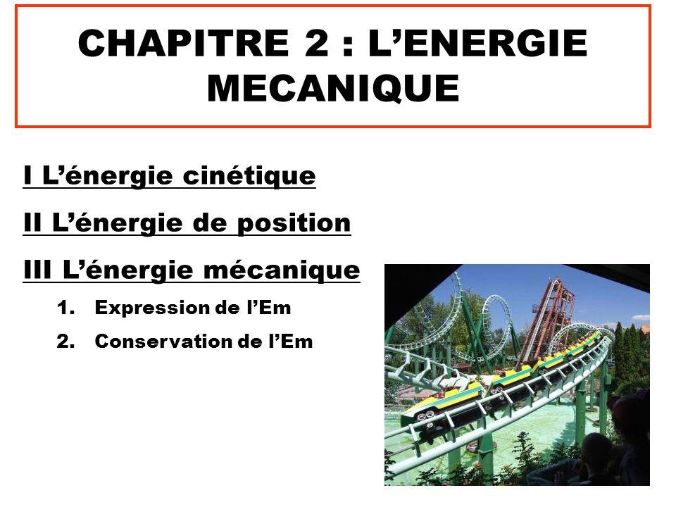 CHAPITRE 2 : L'ENERGIE MECANIQUE I L'énergie cinétique II L'énergie de position III L'énergie mécanique 1.Expression de l'Em 2.Conservation de l'Em