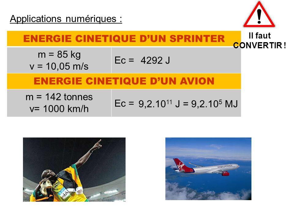 ENERGIE CINETIQUE D'UN SPRINTER m = 85 kg v = 10,05 m/s Ec = ENERGIE CINETIQUE D'UN AVION m = 142 tonnes v= 1000 km/h Ec = Applications numériques : I