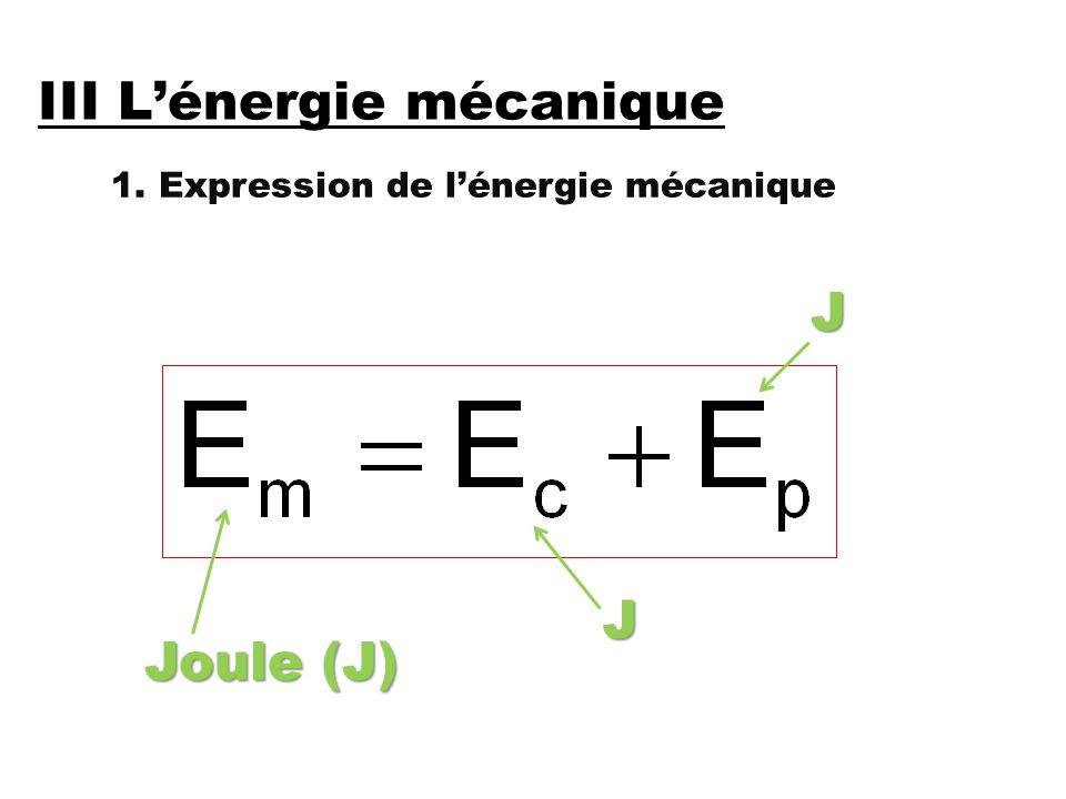 III L'énergie mécanique 1. Expression de l'énergie mécanique Joule (J) JJ