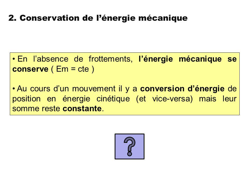 2. Conservation de l'énergie mécanique En l'absence de frottements, l'énergie mécanique se conserve ( Em = cte ) Au cours d'un mouvement il y a conver