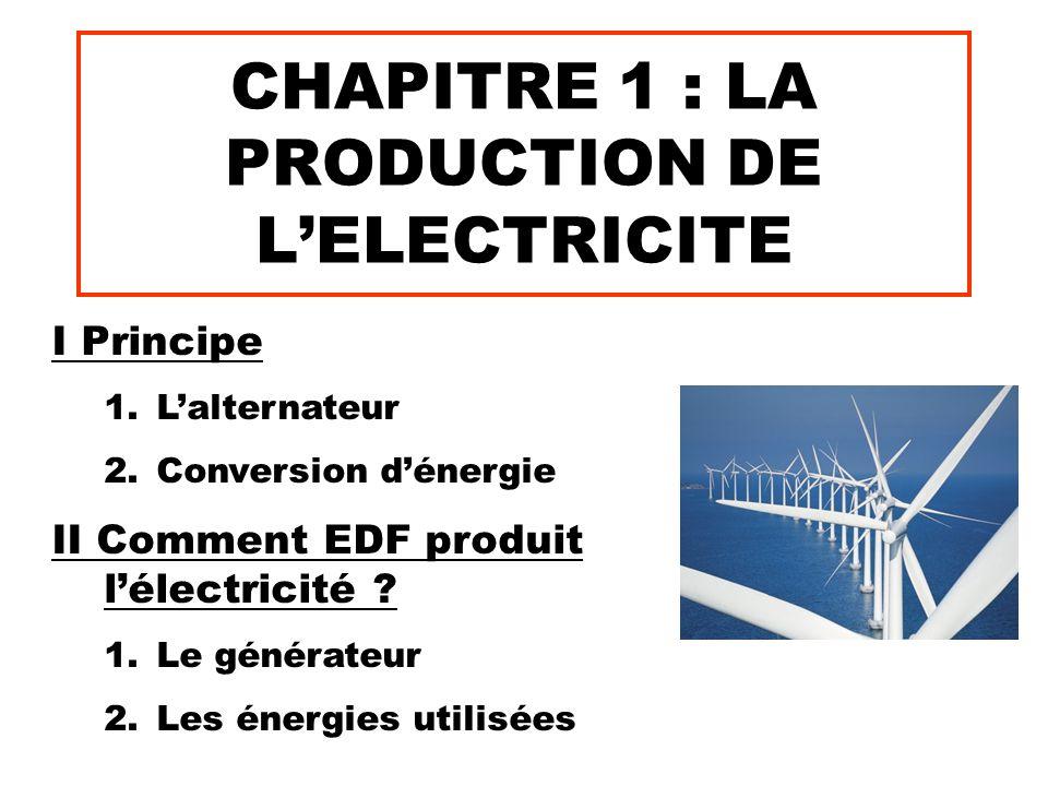 CHAPITRE 1 : LA PRODUCTION DE L'ELECTRICITE I Principe 1.L'alternateur 2.Conversion d'énergie II Comment EDF produit l'électricité ? 1.Le générateur 2