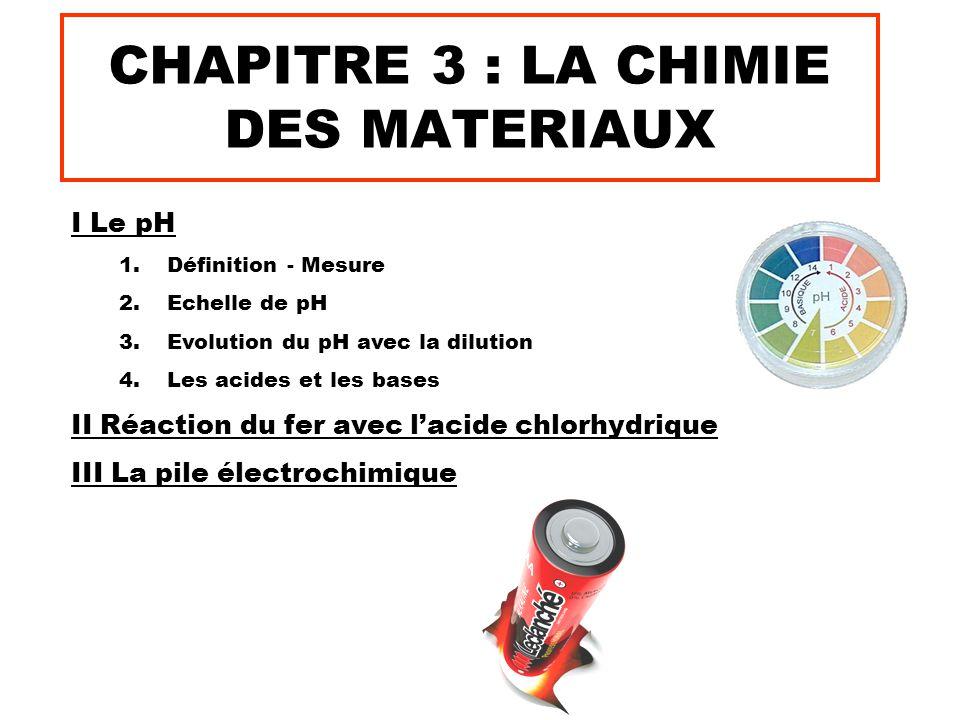 CHAPITRE 3 : LA CHIMIE DES MATERIAUX I Le pH 1.Définition - Mesure 2.Echelle de pH 3.Evolution du pH avec la dilution 4.Les acides et les bases II Réa