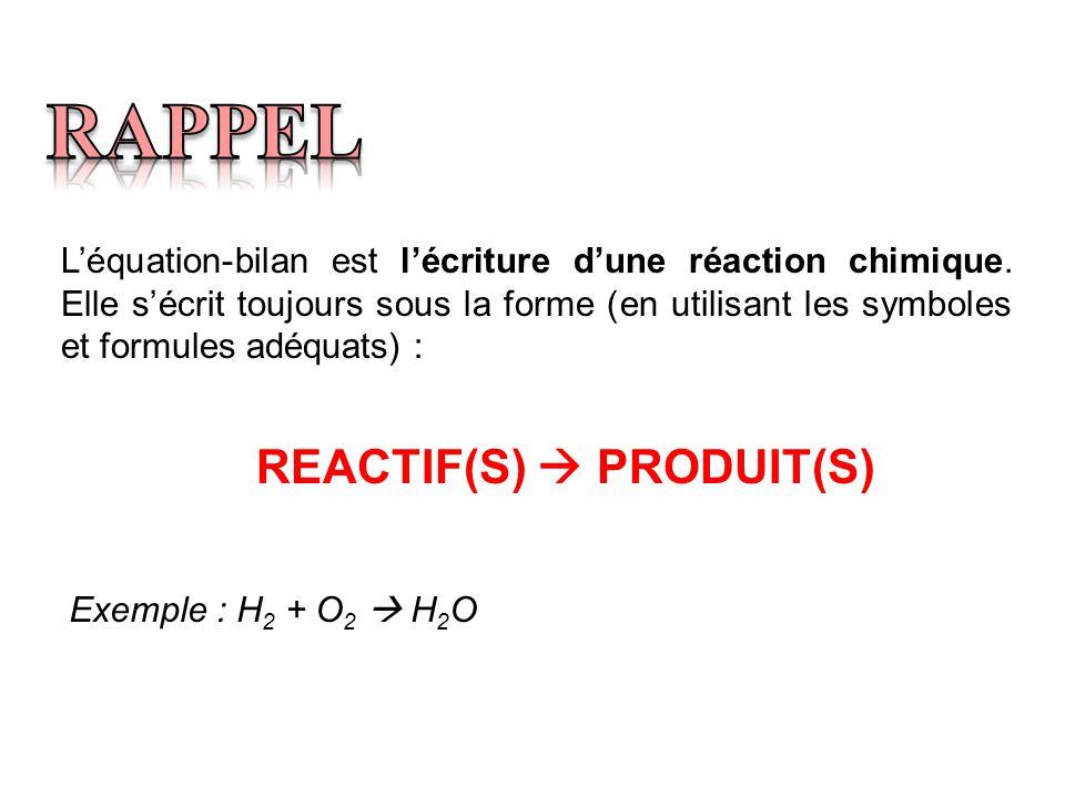L'équation-bilan est l'écriture d'une réaction chimique. Elle s'écrit toujours sous la forme (en utilisant les symboles et formules adéquats) : REACTI