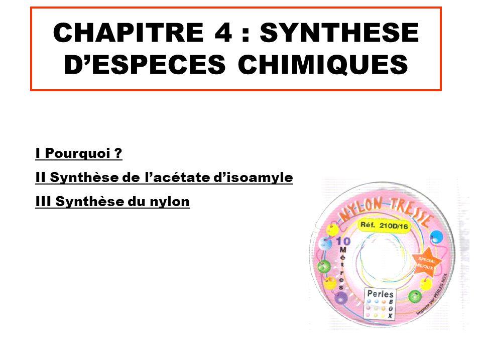 CHAPITRE 4 : SYNTHESE D'ESPECES CHIMIQUES I Pourquoi .