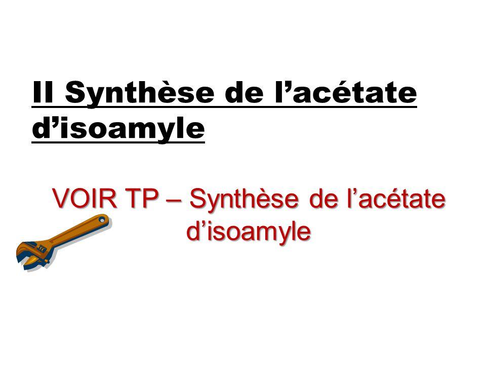 II Synthèse de l'acétate d'isoamyle VOIR TP – Synthèse de l'acétate d'isoamyle